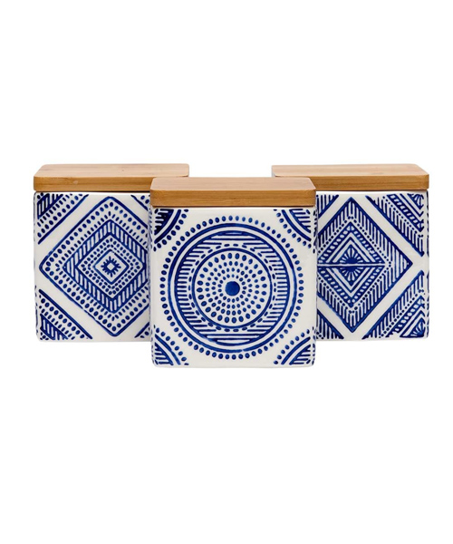 Aztec Blue Assorted Canister - 3pc set